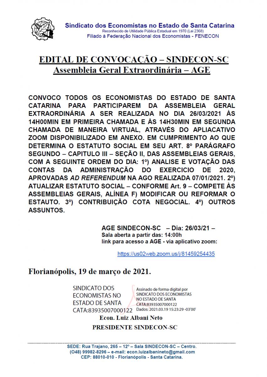 Edital de Convocação - Sindecon - Corecon/SC